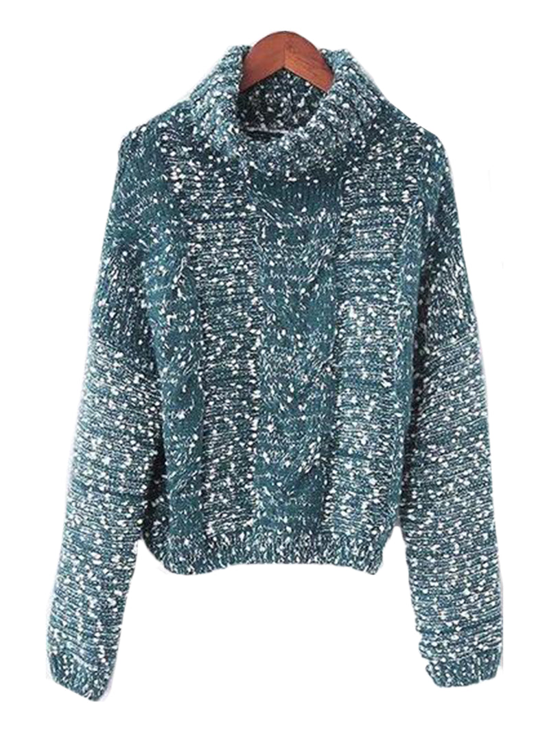 Goodnight Macaroon 'Snowy' Knitted Confetti Braided Turtleneck Sweater Green Front