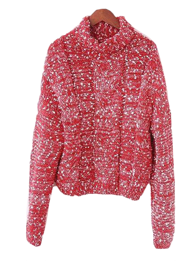 Goodnight Macaroon 'Snowy' Knitted Confetti Braided Turtleneck Sweater Red Front