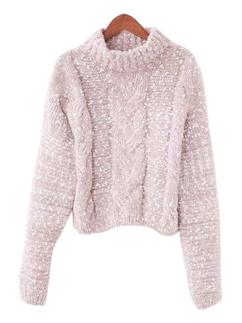 Goodnight Macaroon 'Snowy' Knitted Confetti Braided Turtleneck Sweater Pink Front