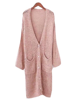 Goodnight Macaroon 'Marine' Loose Knit Draped Long Cardigan Pink Front