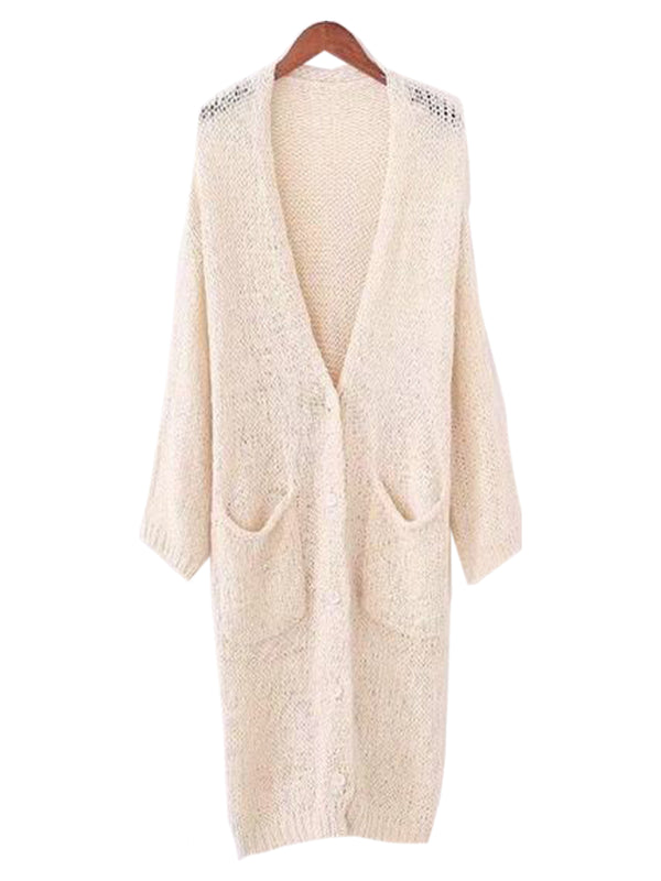 Goodnight Macaroon 'Marine' Loose Knit Draped Long Cardigan Cream White Front