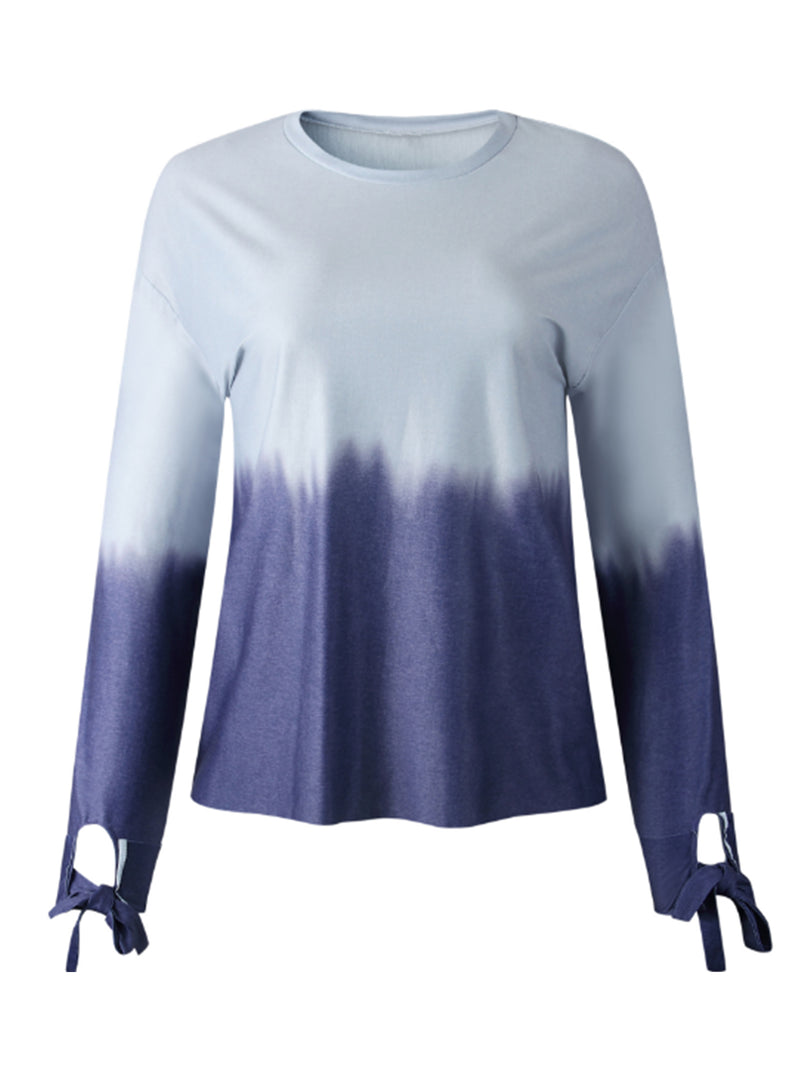 'Fish' Dye Tonal Color Tied Sleeve Top (2 Colors)