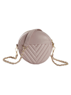 'Cheryl' Round Chevron Quilted Chain Bag (4 Colors)