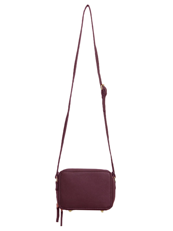 Goodnight Macaroon 'Callie' Burgundy Zip-Around Cross-Body Box Bag Front