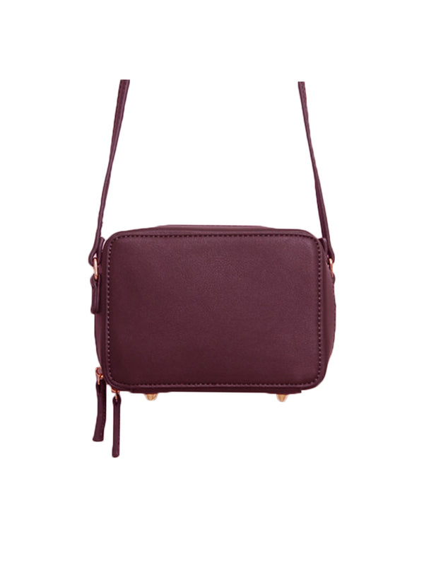 Goodnight Macaroon 'Callie' Burgundy Zip-Around Cross-Body Box Bag Close Up