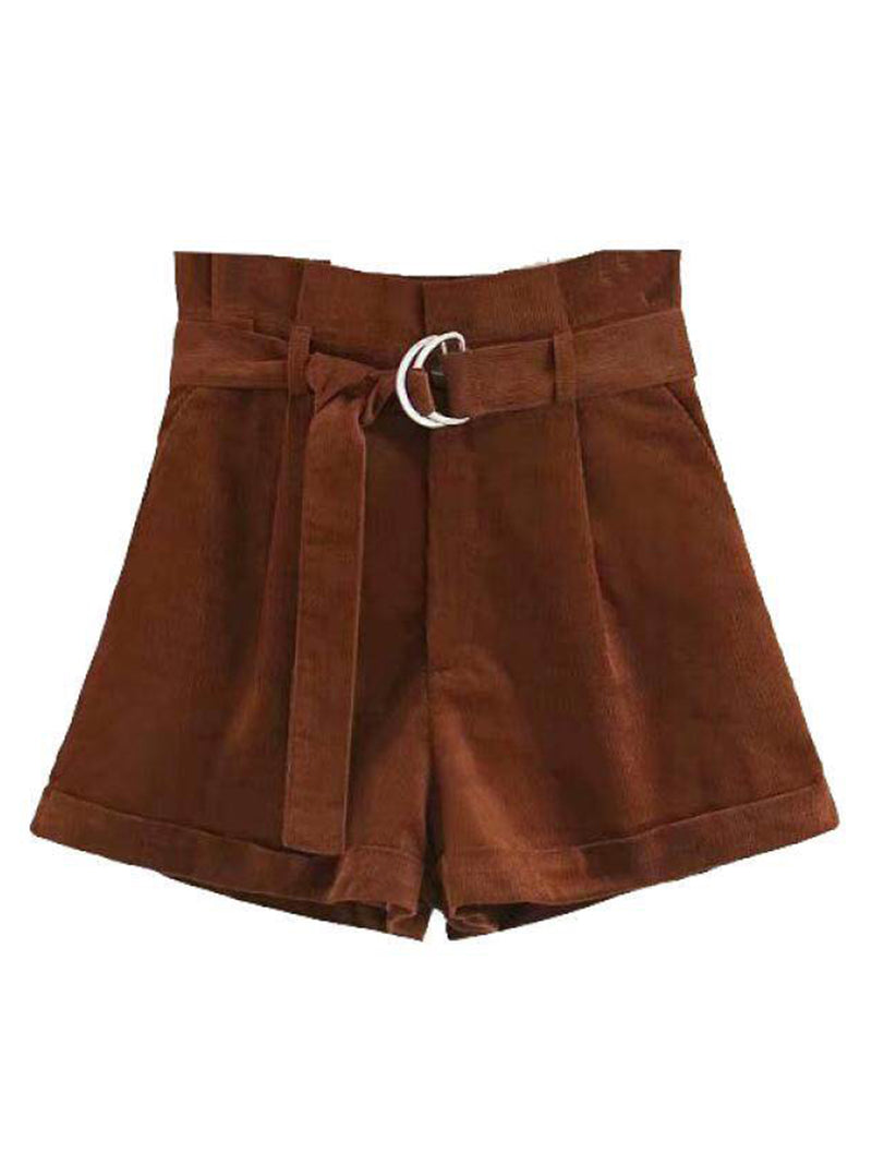 Goodnight Macaroon 'Sara' Brown Belted Corduroy Paper-Bag Shorts Front