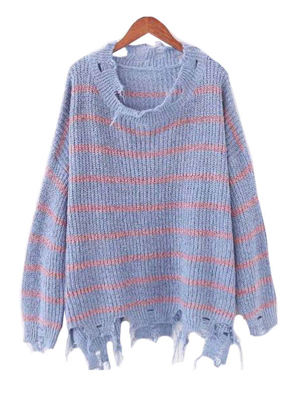 Goodnight Macaroon 'Penny' Distressed Striped Crewneck Sweater Blue and Pink Front