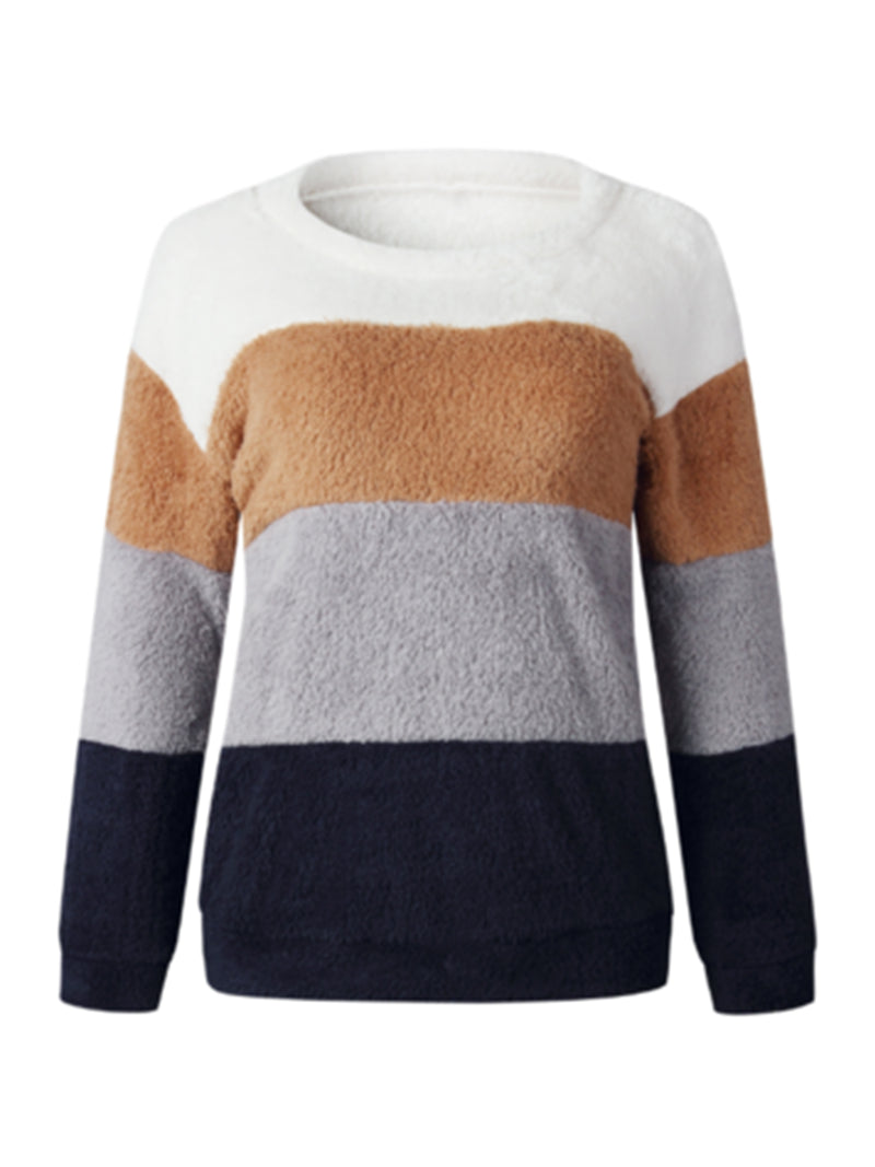 'Brenda' Color Block Fleece Sweater (2 Colors)
