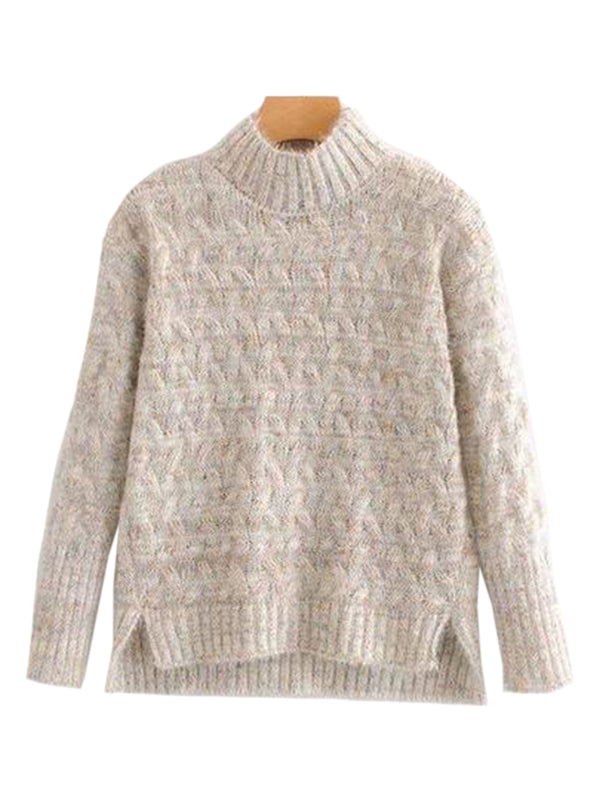 Goodnight Macaroon 'Tess' Confetti Cable Knit Funnel Neck Sweater Cream Front