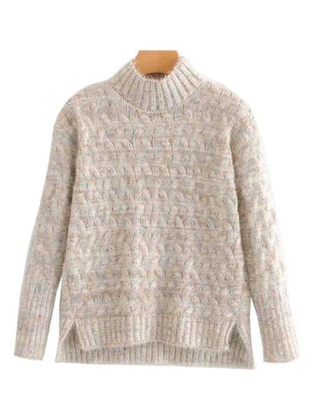 Goodnight Macaroon 'Tess' Confetti Cable Knit Funnel Neck Sweater Product Cream White