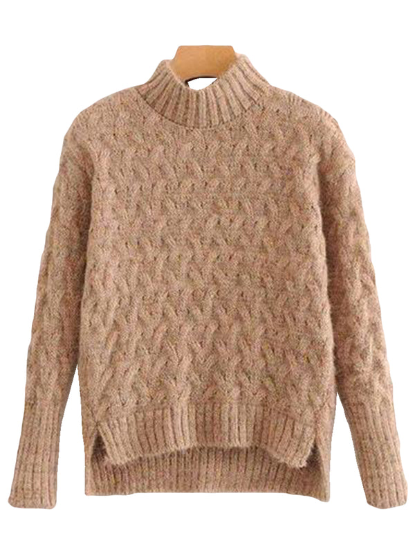 Goodnight Macaroon 'Tess' Confetti Cable Knit Funnel Neck Sweater Khaki Front