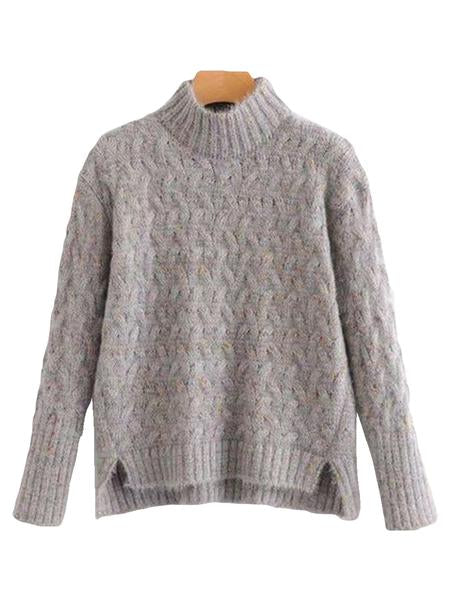 Goodnight Macaroon 'Tess' Confetti Cable Knit Funnel Neck Sweater Product Grey