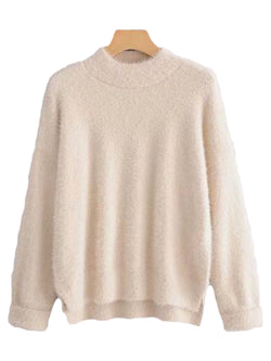 Goodnight Macaroon 'Stacy' Fuzzy Sweater Cream White Front
