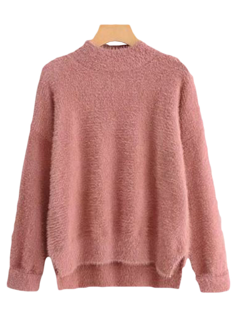 Goodnight Macaroon 'Stacy' Fuzzy Sweater Red Front