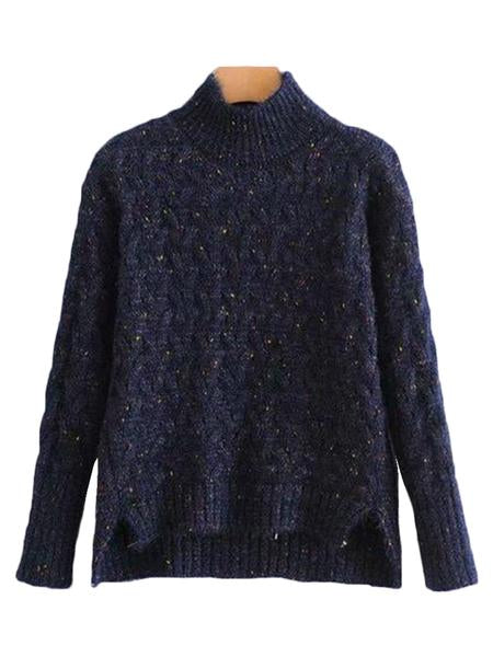 Goodnight Macaroon 'Tess' Confetti Cable Knit Funnel Neck Sweater Product Navy Blue