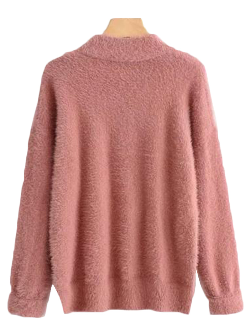 Goodnight Macaroon 'Stacy' Fuzzy Sweater Red Back