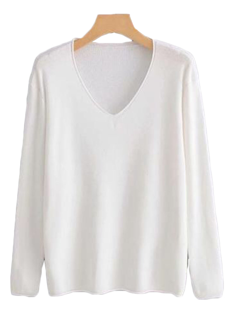 Goodnight Macaroon 'Tatianna' Lightweight V-Neck Sweater White Front