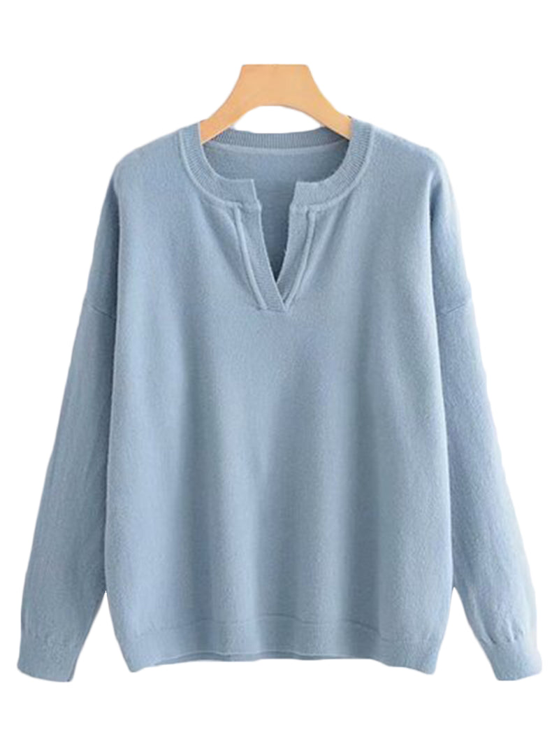 Goodnight Macaroon 'Erica' Open Collar Sweater Blue Front