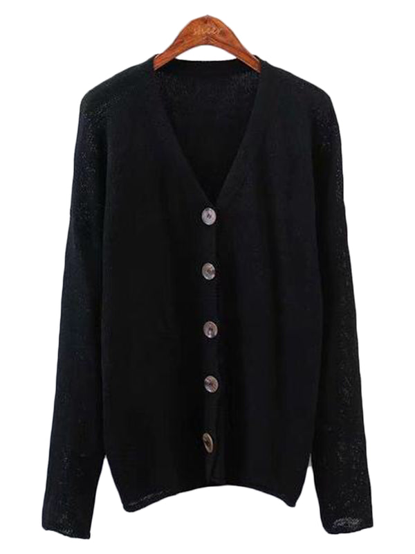 Goodnight Macaroon 'Miriam' Lightweight Button-Up V-Neck Cardigan Black Front