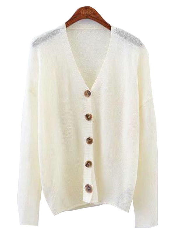 Goodnight Macaroon 'Miriam' Lightweight Button-Up V-Neck Cardigan White Front