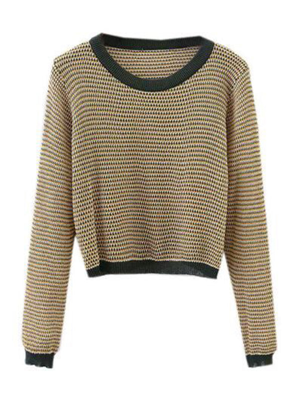 Goodnight Macaroon 'Mylie' Autumn Knitted Cropped Crewneck Sweater Front