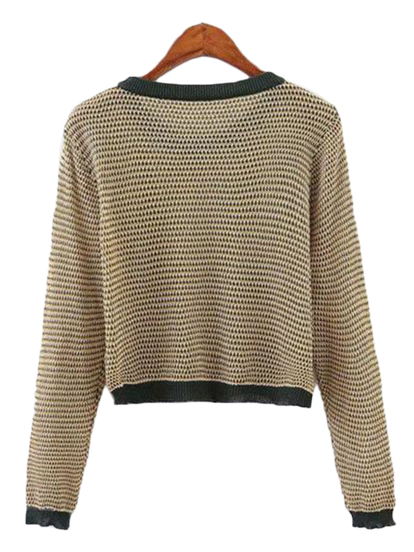 Goodnight Macaroon 'Mylie' Autumn Knitted Cropped Crewneck Sweater Back