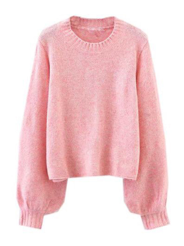 Goodnight Macaroon 'Celeste' Soft Knit Bell Sleeve Crewneck Sweater Pink Front
