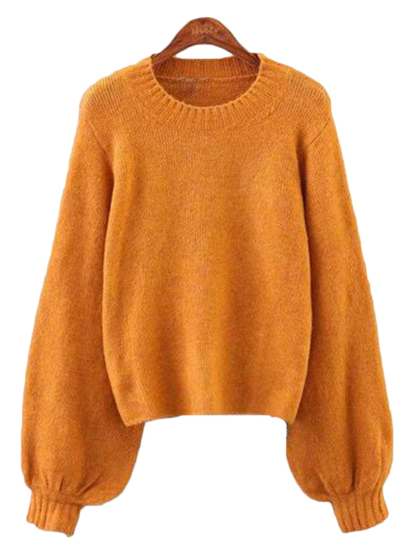 Goodnight Macaroon 'Celeste' Soft Knit Bell Sleeve Crewneck Sweater Yellow Front