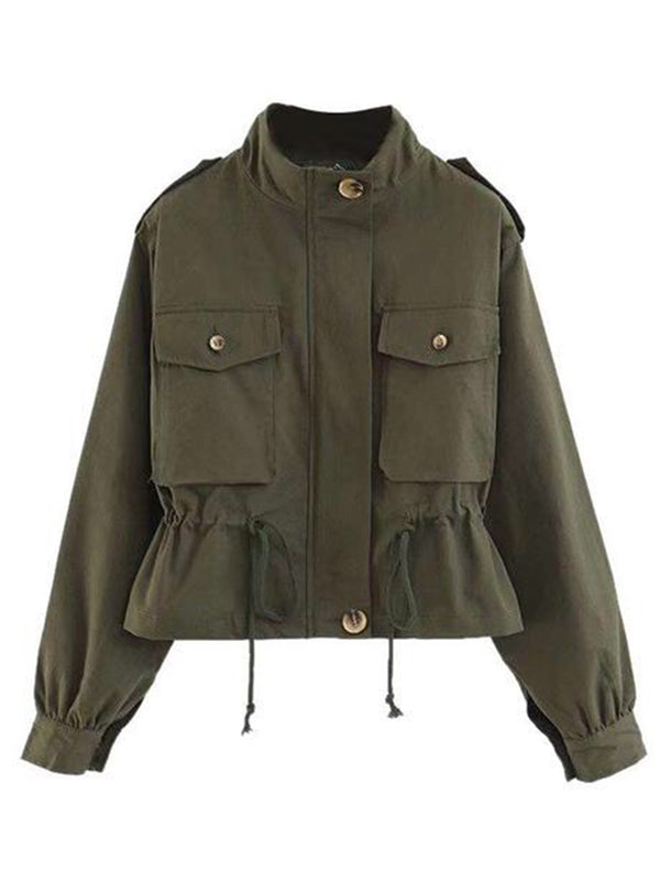 Goodnight Macaroon 'Norah' Pocket Utility Jacket Green Front