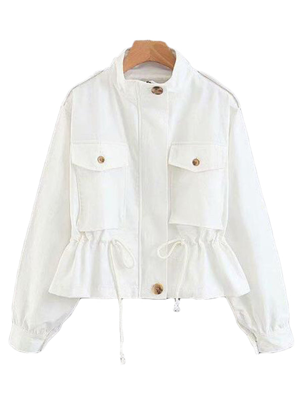 Goodnight Macaroon 'Norah' Pocket Utility Jacket White Front