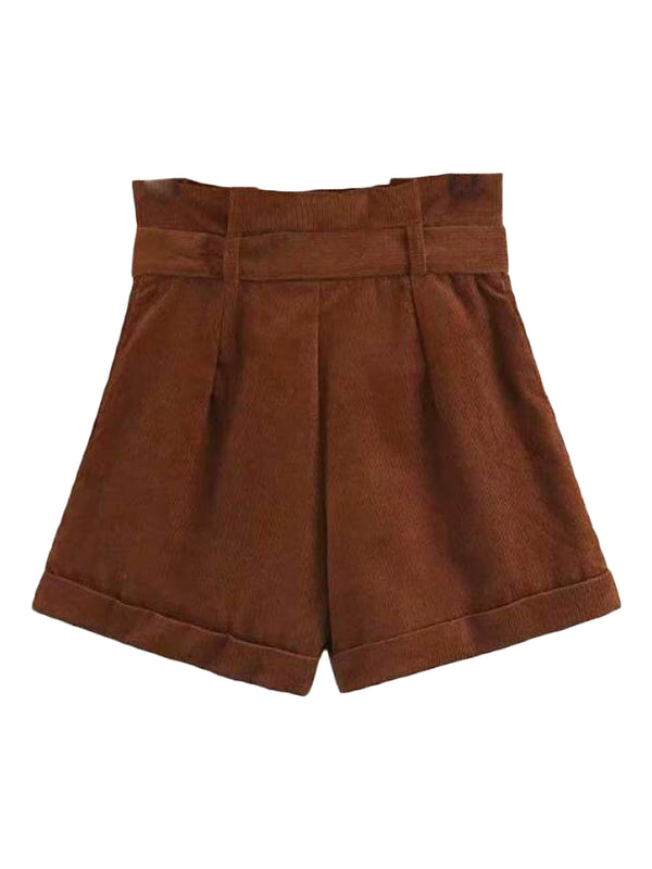 Goodnight Macaroon 'Sara' Brown Belted Corduroy Paper-Bag Shorts Back