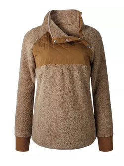 Goodnight Macaroon 'Vincy' Sherpas Quilted Fluffy Sweater Brown Front