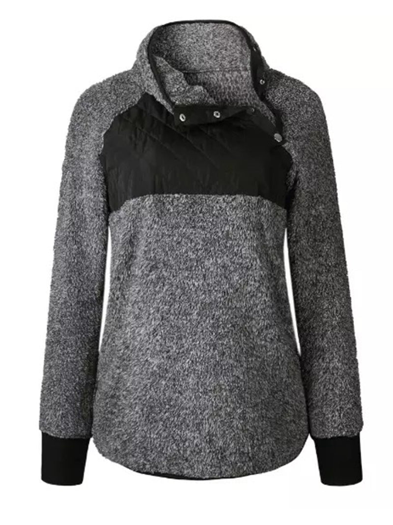 Goodnight Macaroon 'Vincy' Sherpas Quilted Fluffy Sweater Black Front
