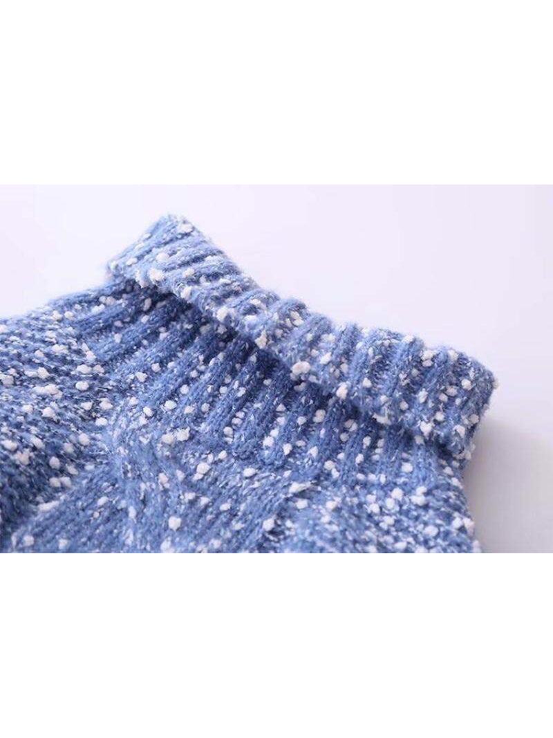 Goodnight Macaroon 'Snowy' Knitted Confetti Braided Turtleneck Sweater Blue Turtleneck