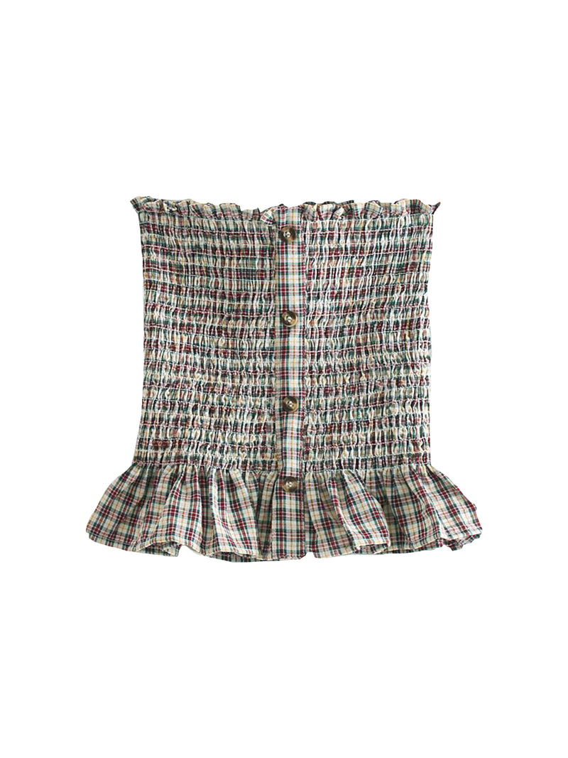 'Kailey' Bandeau Seersucker Ruffled Plaid Top