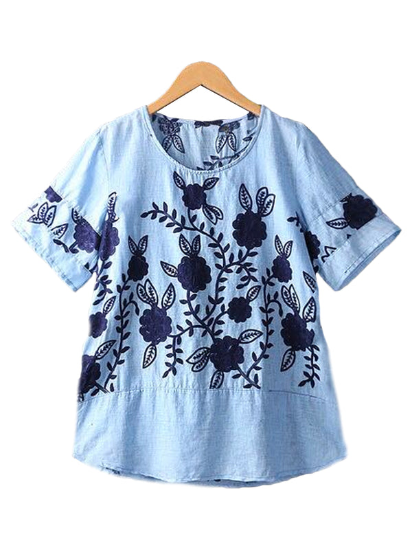 'Tilly' Blue Embroidered Top