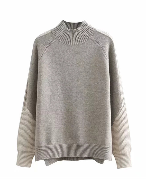 'Kelly' Ribbed Bi-color Sweater (3 Colors)