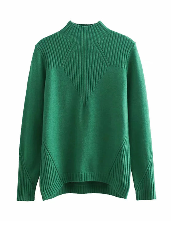 'Carla' High-neck Ribbed Sweater (6 Colors)