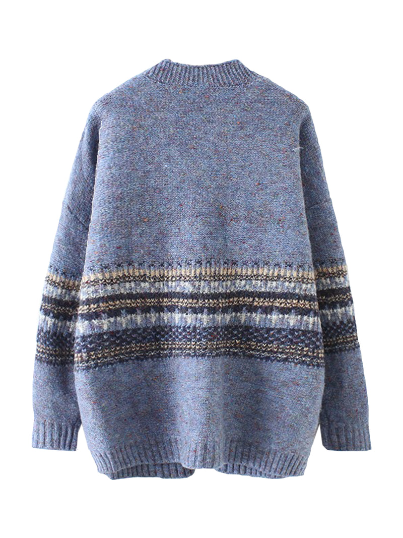 'Kiersten' Mixed Knit Middle Pattern Cardigan