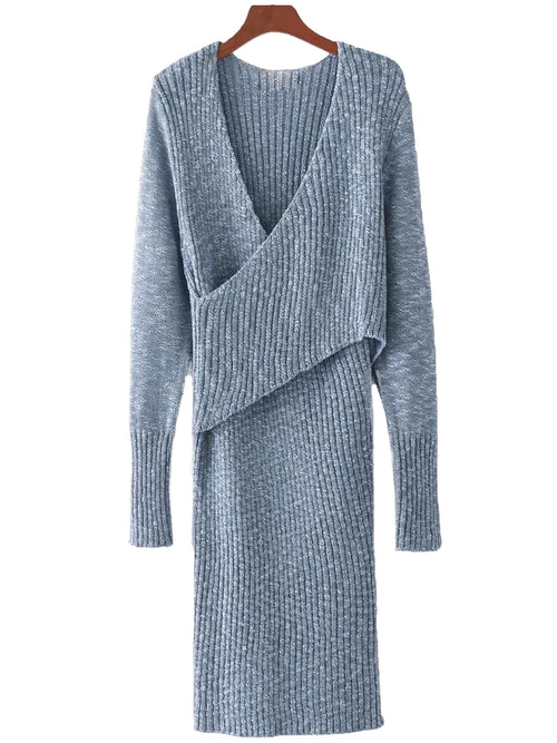 'Reda' Front Wrap Knit Dress