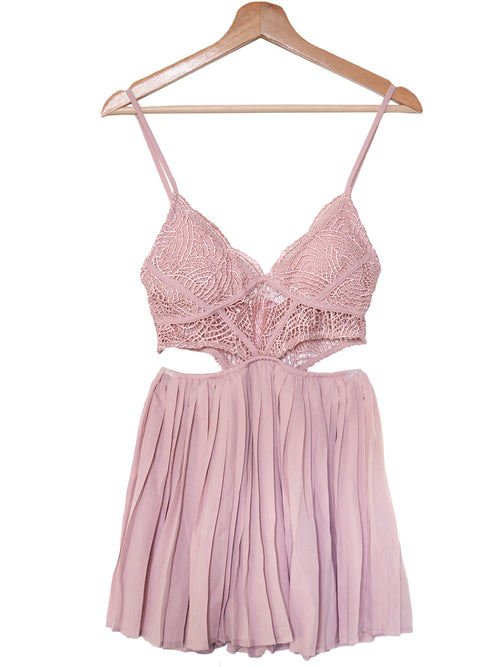 'Lera' Bralette Pleated Lace Romper