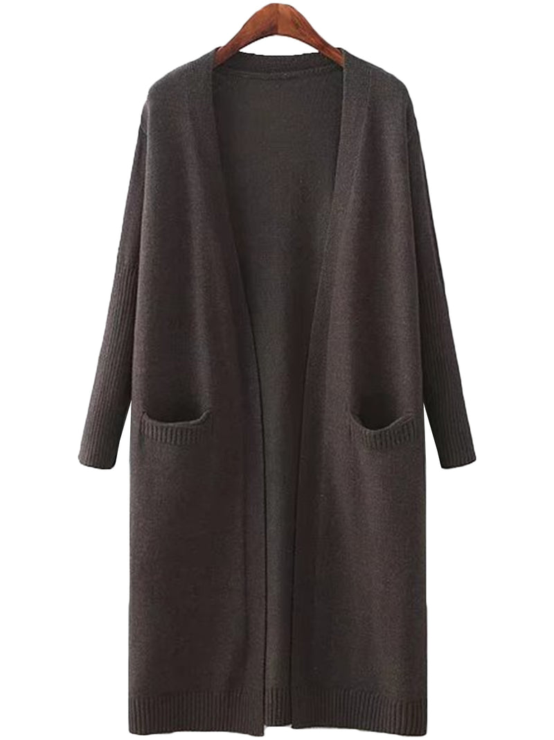 'Carrie' Open Wrap Pocket Long Cardigan