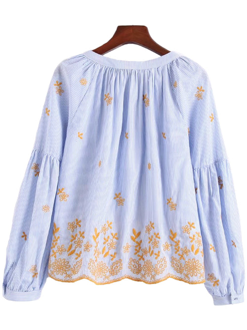 'Lovetta' Embroidered Tassel Scallop Hem Top