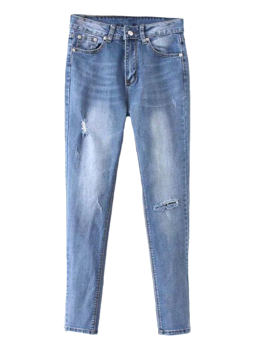 'Karey' Light Washed Distressed Jeans