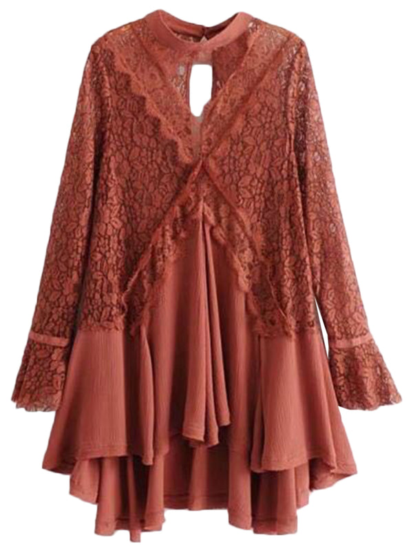 'Merle' Frilly Lace Crochet Tunic Dress (3 Colors)