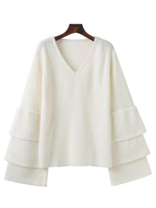 'Odessa' Ruffle Sleeve V-neck Sweater (3 Colors)