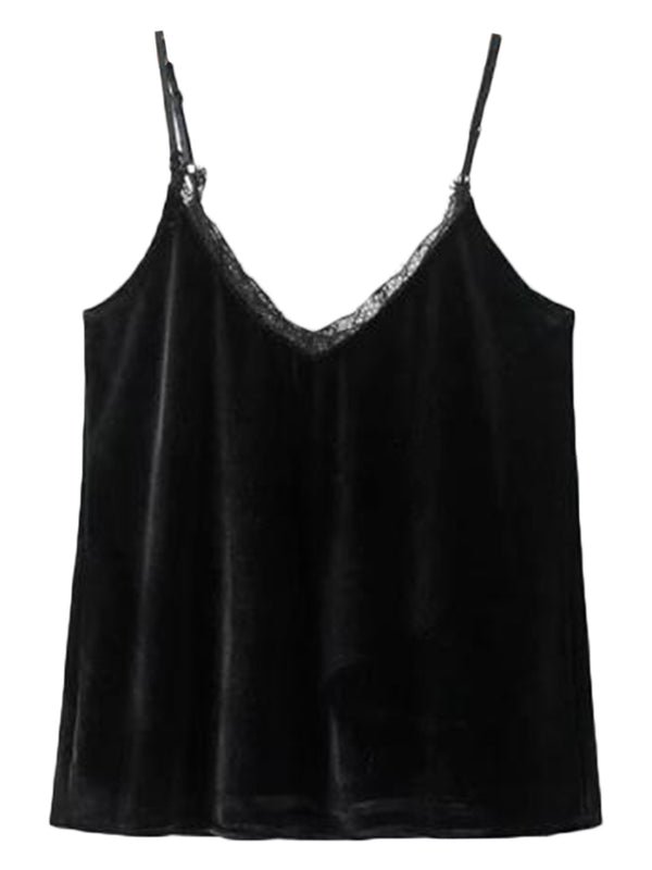 'Paris' Lace Velvet Cami Top (3 Colors)