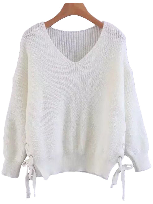 'Lucia' Side Lace Up V-neck Sweater