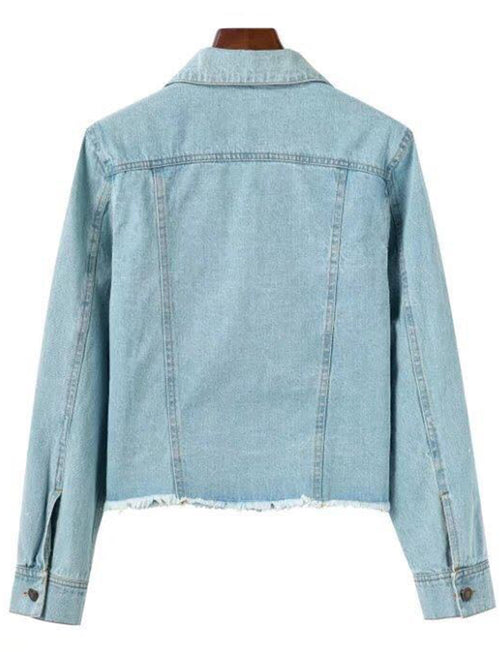 'Charlotte' Raw Hem Crop Denim Jacket