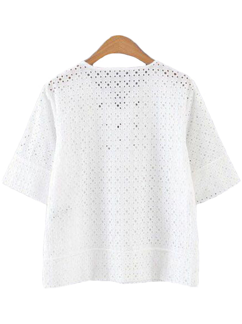 'Itzel' Criss Cross White Eyelet Lace Top